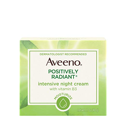 Aveeno Positively Radiant Intensive Moisturizing Night Cream with Total Soy  Complex & Vitamin B3, Oil-Free, Non-Greasy, Hypoallergenic &